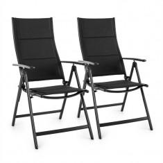 BLUMFELDT STYLO ROYAL, set de 2 scaune rabatabile 56.5 x 110 x 67 cm tesatura aluminiu, culoare negru - Scaun gradina