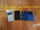 Husa de protectie s-view Allview V2 Viper S gold albastru si negru, Alt model telefon Allview, Piele Ecologica