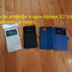 Husa de protectie s-view Allview V2 Viper S gold albastru si negru - Husa Telefon Allview, Piele Ecologica, Cu clapeta