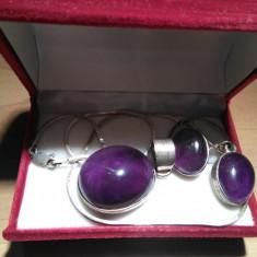 Set bijuterii de argint si ametist - Set bijuterii argint