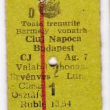 Bilet tren clasa I.international CFR+MAV bilingv Cluj  Budapest 14 NOE 1990