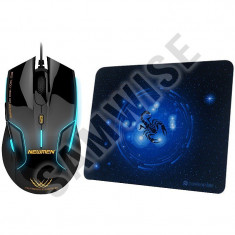 *** NOU*** Mouse Gaming Newmen N500 Black, 1600 DPI, Selector DPI + Mousepad, USB, Optica