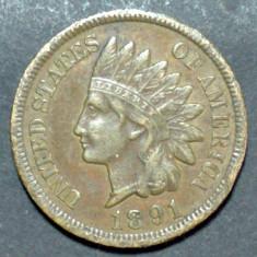 America SUA 1 cent 1891 XF, America de Nord