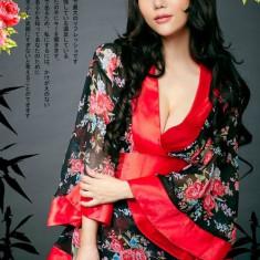 W344 Lenjerie sexy tip kimono cu print floral - Costum dans, Marime: M