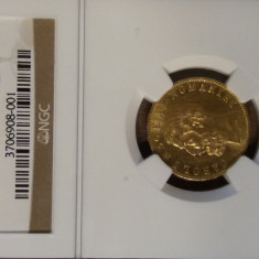 Moneda AUR 20 lei 1883 Romania MS62 capsulat NGC! - Moneda Romania