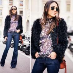 Jacheta Zara, S, blana eco - Jacheta dama, Marime: S, Culoare: Bleumarin