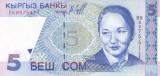 Bancnota Kyrgyzstan 5 Som 1997 - P13 UNC
