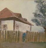 "PVM - Tablou mai vechi ""Casa la Tara cu Gard"" u / p nesemnat nedatat, Peisaje, Ulei, Realism"