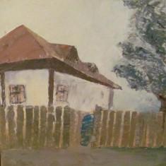 "PVM - Tablou mai vechi ""Casa la Tara cu Gard"" u / p nesemnat nedatat"