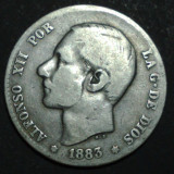 Spania 1 pesetas 1883 2 Argint