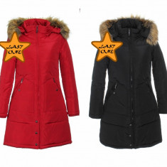 Palton dama vatuit, cu gluga si blanita, art.33352F, rosu si negru., Marime: L, S, Poliester