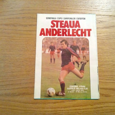 STEAUA - ANDERLECTHT * semifinala Cupei Campionilor Europeni, Apr. 1986 - Pliant