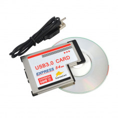 Adaptor Express Card 54mm la USB 3.0 (2 porturi) expresscard adapter 54mm laptop - Adaptor PCMCIA