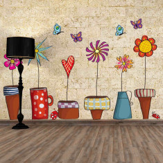 Sticker perete autocolant Ghivece cu Flori