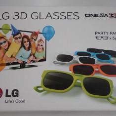Set Ochelari originali TV Cinema LG 3D Party Pack colorati 5 buc noi in cutie, Unisex, Maro, Rotunzi, Plastic, Polarizate