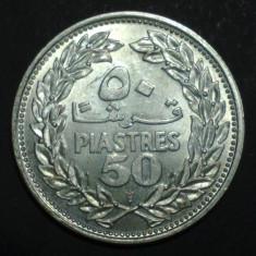 Liban 50 piastres 1952 UNC Argint, Asia