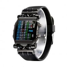 Ceas barbati, binar, digital, LED colorat, rezistent la apa, TVG, negru - Ceas led