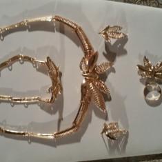 Set bijuterii ocazii speciale placate cu aur 18 k - Set bijuterii placate cu aur