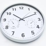 Ceas de perete mare, cu termometru si higrometru –diametrul 35cm– argintiu - NOU