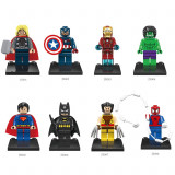 Set 8 minifigurine tip LEGO Marvel DC Comics, Hulk, Thor, Ironman, Batman, NOI - Set de constructie, 6-8 ani, Baiat
