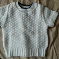 Tricou copii, bluza cu maneca scurta, bluzita copii, unisex, tricotaj, 1-3 ani, Marime: 30, Culoare: Alb