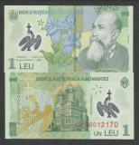 ROMANIA 1 LEU 2005  /  2013  ( prefix 13 )  [1]  UNC  POLYMER , necirculata
