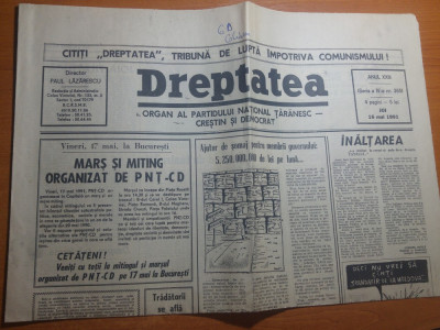 ziarul dreptatea 17 mai 1991-mars si miting organizat de PNTCD foto