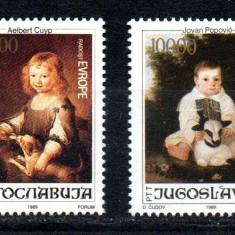 JUGOSLAVIA 1989, Arta, Pictura, serie neuzata, MNH, Iugoslavia, Nestampilat