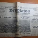 Ziarul dreptatea 2 decembrie 1990--art. despre marea unire de la 1918