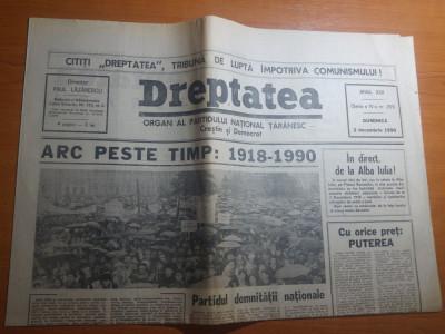 ziarul dreptatea 2 decembrie 1990--art. despre marea unire de la 1918 foto