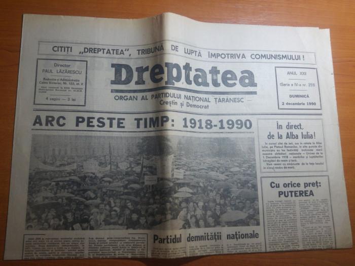 ziarul dreptatea 2 decembrie 1990--art. despre marea unire de la 1918 foto mare