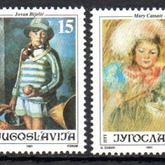 JUGOSLAVIA 1991, Arta, Pictura, serie neuzata, MNH