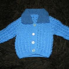 Pulover, sfeter cu nasturi copii, unisex, marimea 6-12 luni, tricotaj, handmade, Marime: 30, Culoare: Albastru