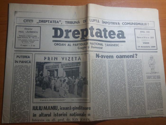 ziarul dreptatea 14 decembrie 1990--art. despre iuliu maniu foto mare