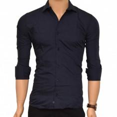 Camasa Slim Fit bleumarin - Camasa bleumarin cambrata 100% bumbac - Camasa barbati, Marime: S, M, L, XL, Maneca lunga
