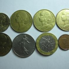 Franta lot (2) - 8 monede moderne diferite 1963-2015