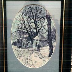 Goblen- Capela, 12x16 cm, 7 culori, inramat