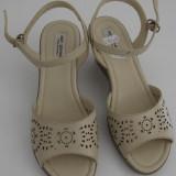 Sandale dama din piele naturala, noi, foarte comode, lichidare stoc, 36, 39, Bej