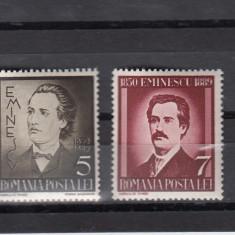 ROMANIA 1939, LP130, 50 ANI DE LA MOARTEA LUI M. EMINESCU SERIE MNH - Timbre Romania, Nestampilat