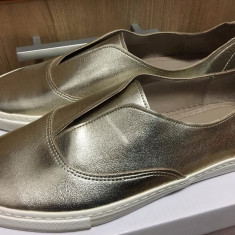 Pantofi ZARA basic collection NOI 41 - Pantof dama Zara, Culoare: Auriu