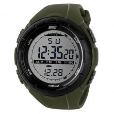 Ceas sport digital SKMEI Army Green - Ceas barbatesc, Quartz, Silicon, Alarma, Electronic