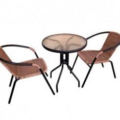 Set mobilier gradina maro, Strend Pro Alesia, masa rotunda 70x60 cm, 2 scaune - Set gradina