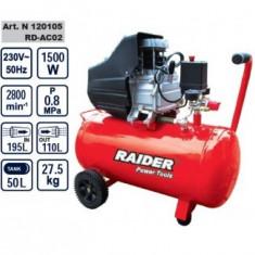 Compresor 50L, 1500W, Raider RD-AC02 - Compresor Service