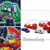Covor copii - set 2 covorase Politie si Pompieri cu 6 masini (80 x 70 cm fiecare covoras)