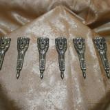 Set sase piese decorative bronz masiv Baroc Empire sec 18, antique