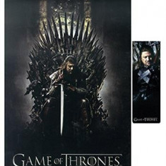 Game Of Thrones Notebook And Magnetic Bookmark Gift Set Ned On Throne - Caiet
