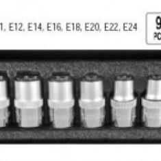 Set chei tubulare Torx CR-V, 9 BUC, E10-E24, YATO YT-0521 - Cheie tubulara