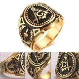 Inel Barbatesc Auriu - Mason / Freemasons , Illuminati -  Otel Inoxidabil