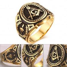 Inel Barbatesc Auriu - Mason / Freemasons, Illuminati - Otel Inoxidabil - Inel barbati