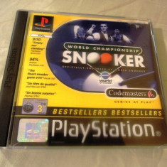 World Championship Snooker playstation one, PS1, alte sute de jocuri Codemasters, Sporturi, 3+, Multiplayer